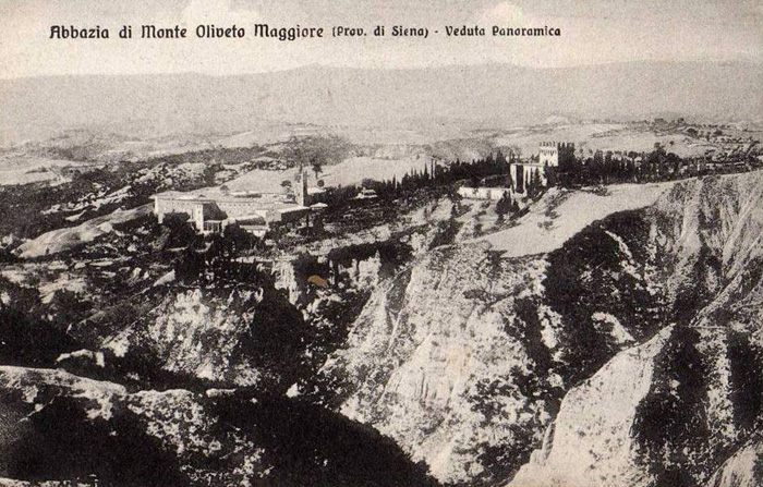 Vecchia carta postale Crete Senesi (Abbazia di Monte Oliveto Maggiore)