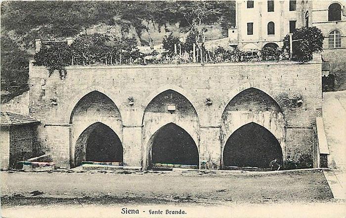 Cartolina di Siena, fonte Branda, Siena