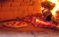Wood burning pizza oven, inside Podere Santa Pia