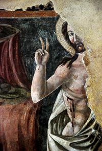 Resurrezione di Cristo (1477), affresco di scuola senese (particolare)