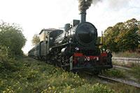 Treno a vapore da Siena nel stazione di Sant'Angelo-Cinigiano