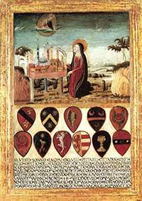 Biccherne, Neroccio di Bartolomeo de'Landi (attribuito), La Vergine raccomanda la città di Siena a Gesù,tempera su tavola,(1480)