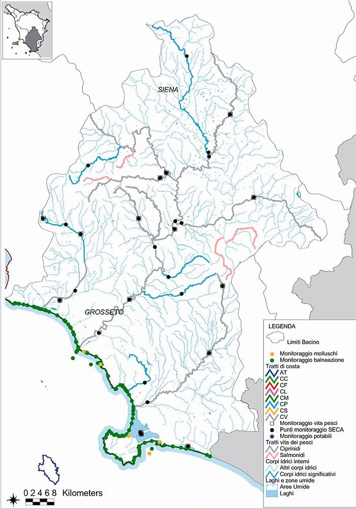 Cartina Fiumi Toscana.Valle Dell Ombrone Bacino Ombrone